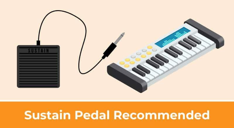Using a Sustain Pedal with a MIDI Controller is Recommended