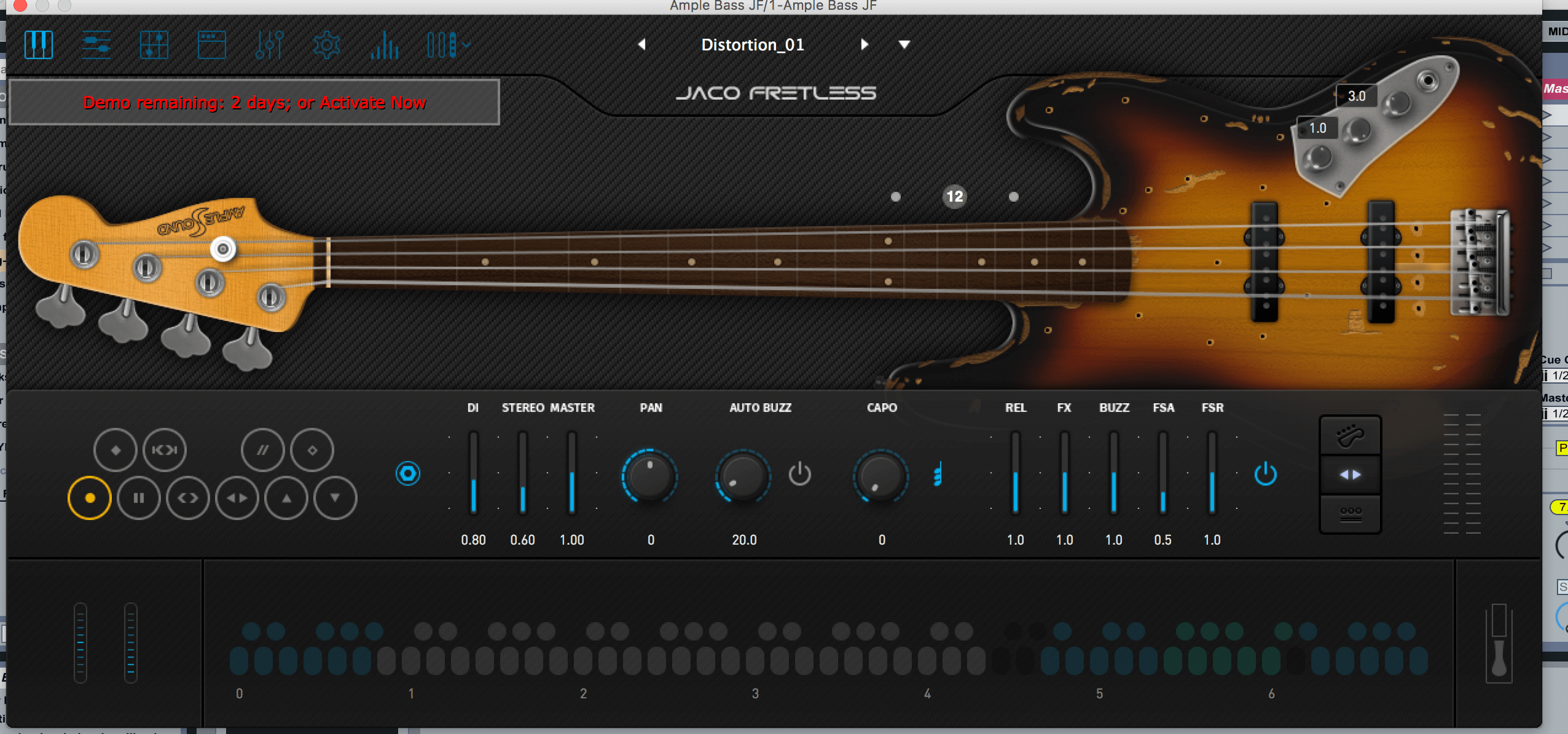 Interface of Ample Bass Guitar VST