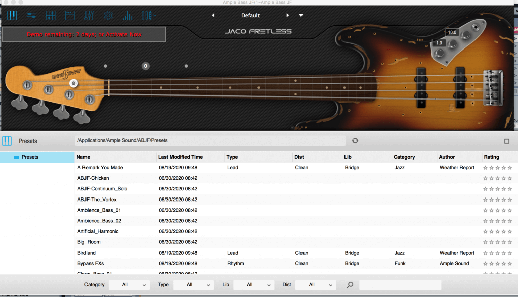 Different presets of Ample Bass