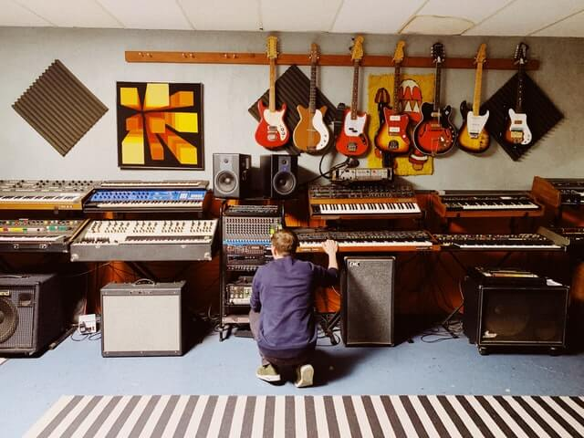 Music Studio with synths & guitars
